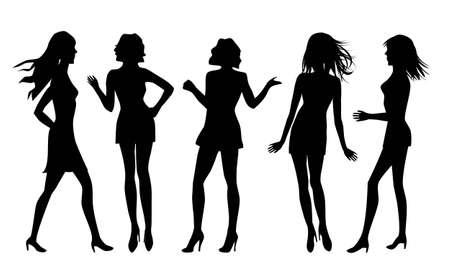 clip art women: Silhouettes of different women
