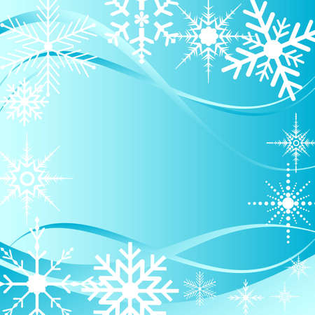 Background with swirls and snowflakes Vector