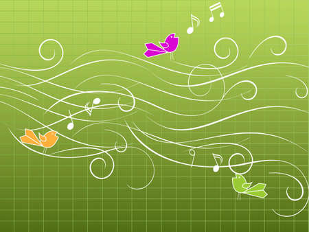 Musical birds singing on stave Vector