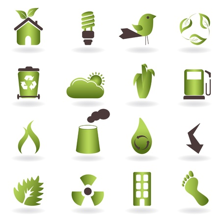 Eco related symbols and icons Vector