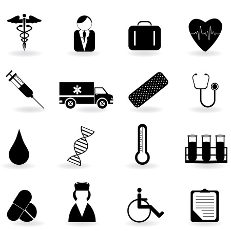 medical drawing: Medical and health care related symbols Illustration