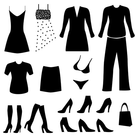 Female clothes, shoes and accessories Иллюстрация