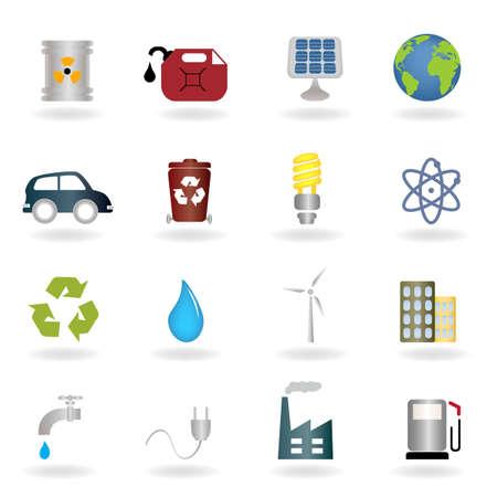 hazardous waste: Environmental and ecologic symbols icon set