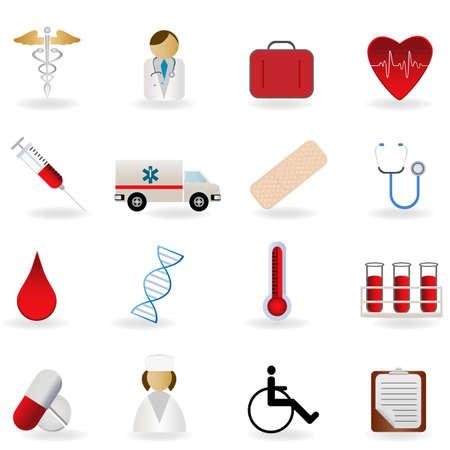 Médico y los símbolos relacionados con el cuidado de la salud