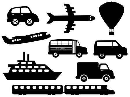 fast train: Transportation related symbols icon set