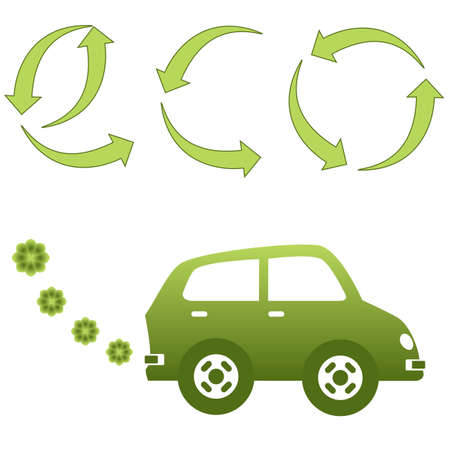 Environment friendly green electric car Ilustrace