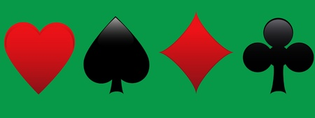 Playing card suits in green background Vector