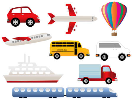 Transportation related symbols icon set Vector