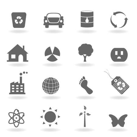 nuclear plant: Eco icon set in grayscale