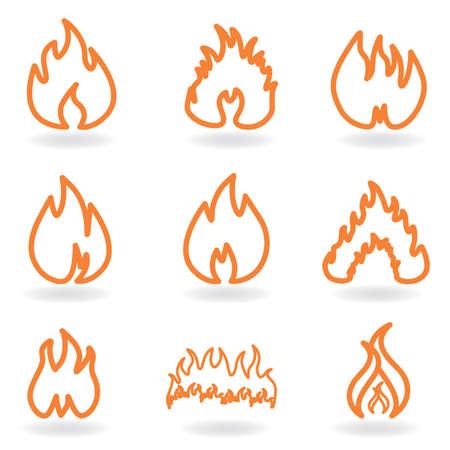 Flame and fire symbols Ilustração