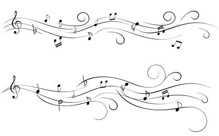 clave de fa: Las notas musicales de las partituras Vectores