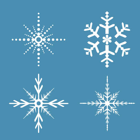 Various snowflakes on blue background