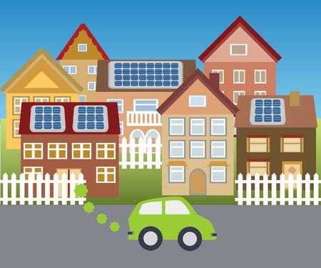 Stad gevoed met zonne-energie Stock Illustratie