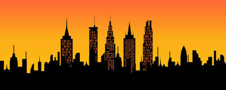 cityview: City skyline at sunset or sunrise Illustration