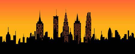 City skyline at sunset or sunrise Illustration