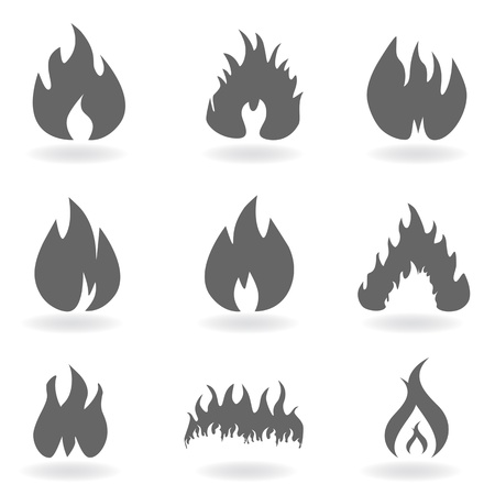 Flame and fire in gray Stock Vector - 12305207