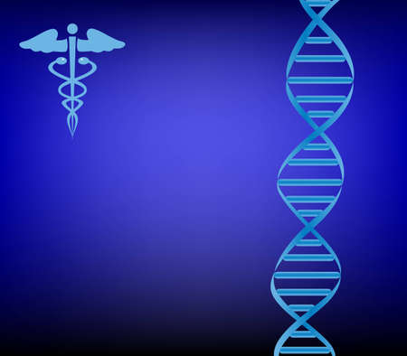 dna strand: DNA strand with caduceus on dark blue Illustration