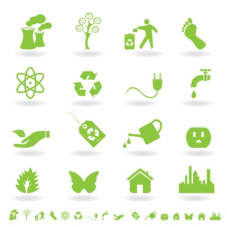 carbon footprint: Eco friendly icon set in green Illustration