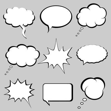 Speech and thought bubbles, balloons Vector