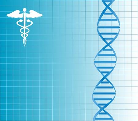 Brin d'ADN avec caducée Banque d'images - 12305300