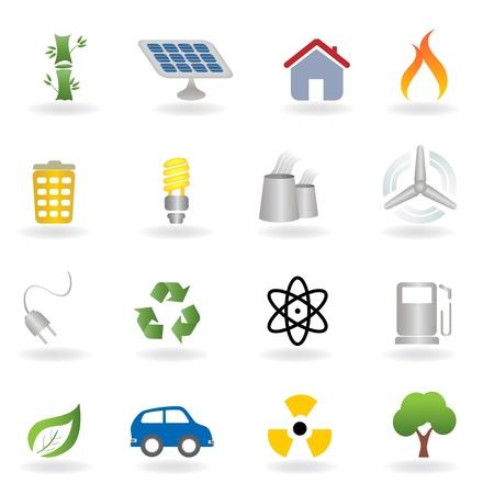 Eco et jeu d'icônes liées à l'environnement Banque d'images - 12305438