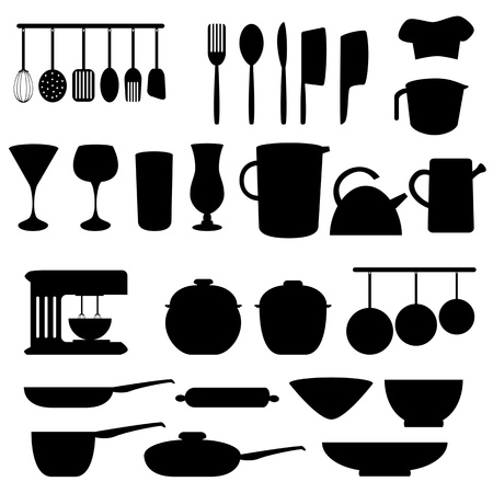 Kitchen utensils and tools in gray Vector