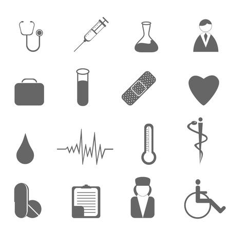 infermiere paziente: Assistenza sanitaria e medica set di icone Vettoriali