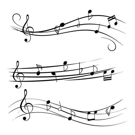 白い背景の上の音楽ノート