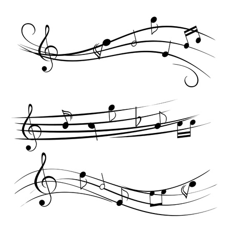 pentagrama musical: Notas de la música en el fondo blanco Vectores