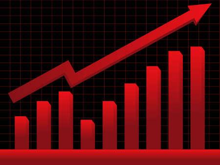 businesses: Stock market chart showing profit Illustration