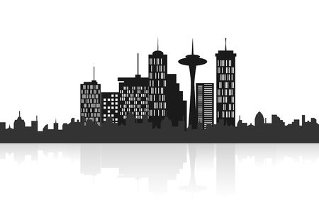cityview: Big city skyline with skyscrapers Illustration