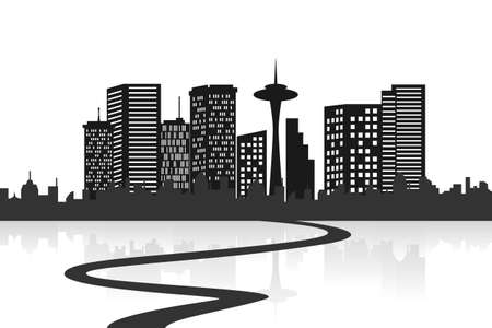 Big city skyline with a road Stock Vector - 12305375
