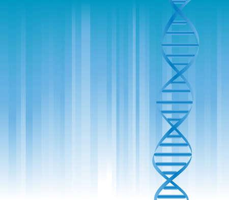 DNA-streng op blauwe achtergrond met copyspace Stock Illustratie