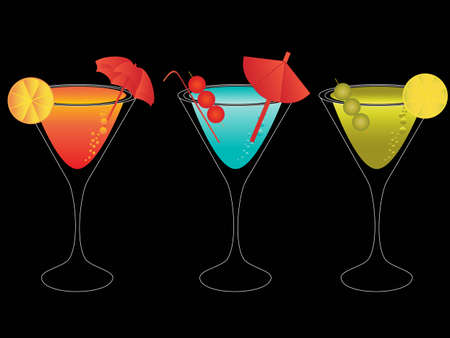 alcoholic beverage: Colorful martini mixes with umbrellas and straws