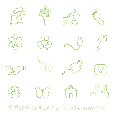 Clean green energy and environment icons Vector