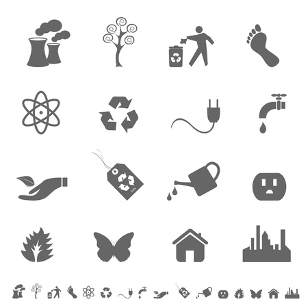 carbon footprint: Eco symbols and icon set