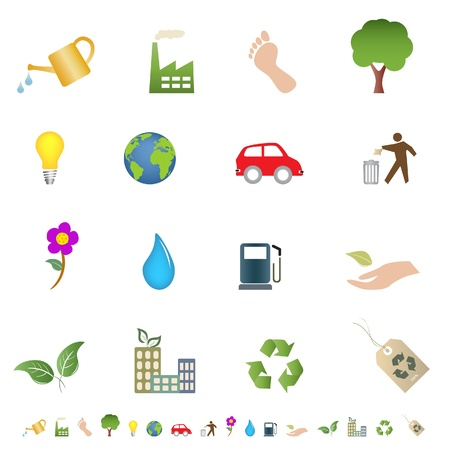 Eco and green environment related icons Vector