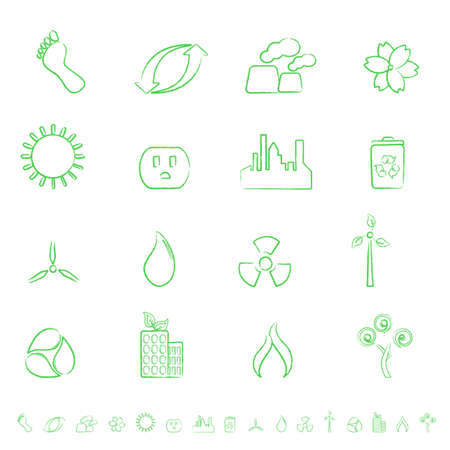 Eco and environment green icon set Vector