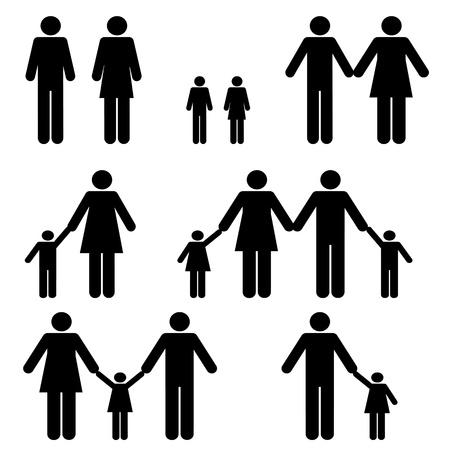 부모: 싱글 엄마, 아빠와 두 부모 가족 일러스트