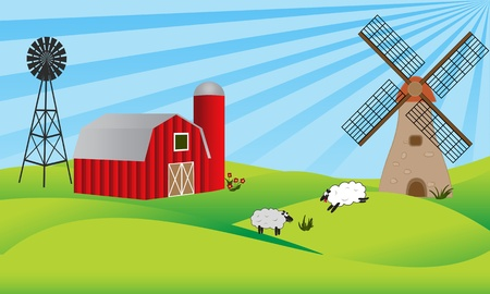 graze: Farmland with barn, windmill and sheep Illustration