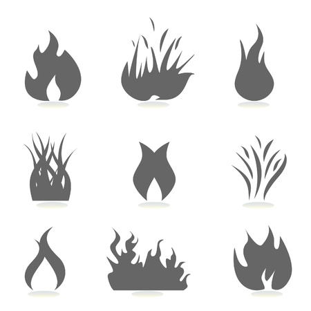 Fire and flame icons silhouettes Vector