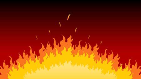 Flames burning in a fire Ilustração