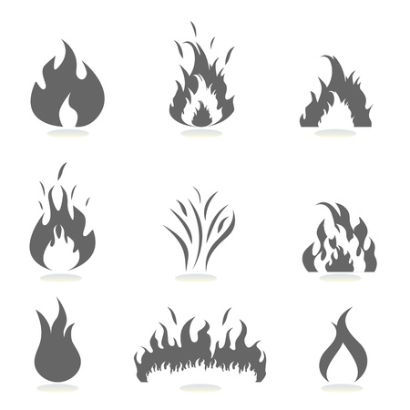 Flame icon set in gray