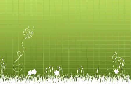 hoog gras: Dikke hoog gras met honingbij en vlinder Stock Illustratie
