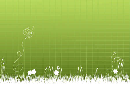 Thick tall grass with bee and butterfly Vector