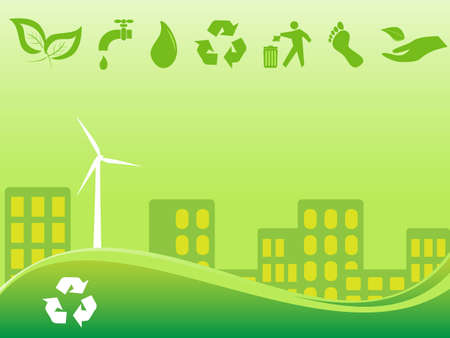 Green environmentally conscious city view Vector