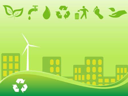 green footprint: Green environmentally conscious city view