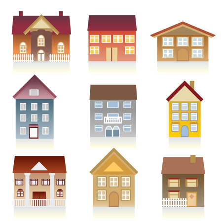 Houses with various architectural styles Vector