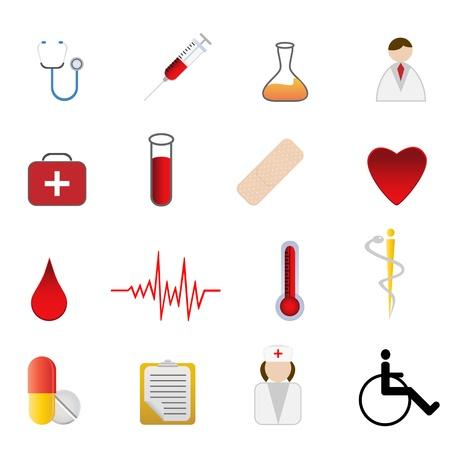 latidos del coraz�n: M�dico y cuidado de la salud s�mbolos relacionados con conjunto de iconos Vectores