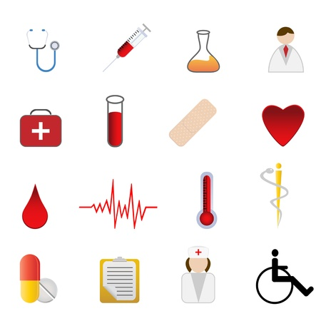 Medical and health care related symbols icon set Ilustração